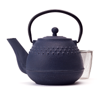Blue Hobnail Cast Iron Teapot