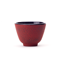 Cast Iron Teacup Red Stripes