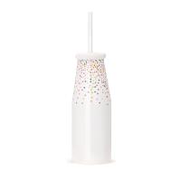 White Sprinkles Ceramic Milk Bottle