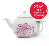white paisley bubble teapot (24 oz)