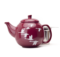 Burgundy Geese Bubble Teapot (24oz)
