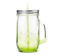 Lime Mason Jar with Straw