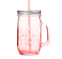 Pink Mason Jar with Straw