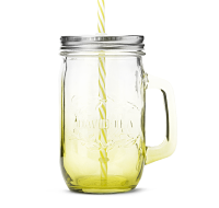 Yellow Mason Jar with Straw