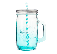 Teal Mason Jar with Straw