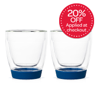 Blue Glass and Silicone Cups