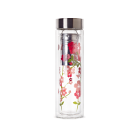 Cherry Blossom Glass and Stainless Travel Mug