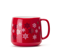 Red With Snowflakes Tea Latte Mug