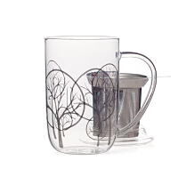 Silver Snowy Trees Glass Nordic Mug