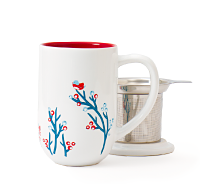 White Nordic Mug Berries Birds